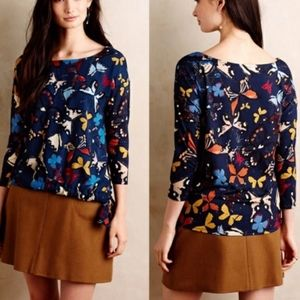 Weston Anthropologie Butterfly Print Blouse